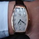 台中流當品拍賣 流當手錶 原裝 LONGINES 浪琴 18K 玫瑰金 酒桶型 自動 男錶 9成5新