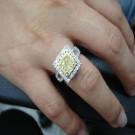 台中流當鑽石拍賣 流當品拍賣 豪華 方形 1克拉 FANCY 黃彩鑽 女鑽戒