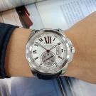 台中當鋪流當名錶拍賣 原裝 CARTIER 卡地亞 CALIBRE 簍空 不銹鋼 自動 男錶 9成5新 KR004